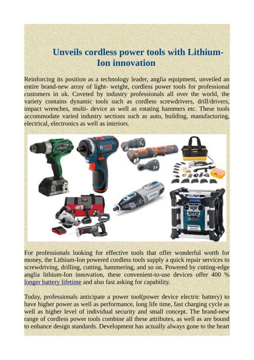 Unveils cordless power tools with Lithium-Ion innovation