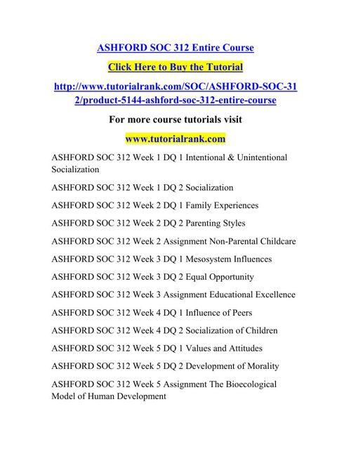 SOC 312 Learning Consultant / tutorialrank.com