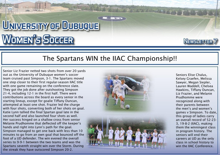 University of Dubuque Women's Soccer 2014 Newsletter: Issue 7