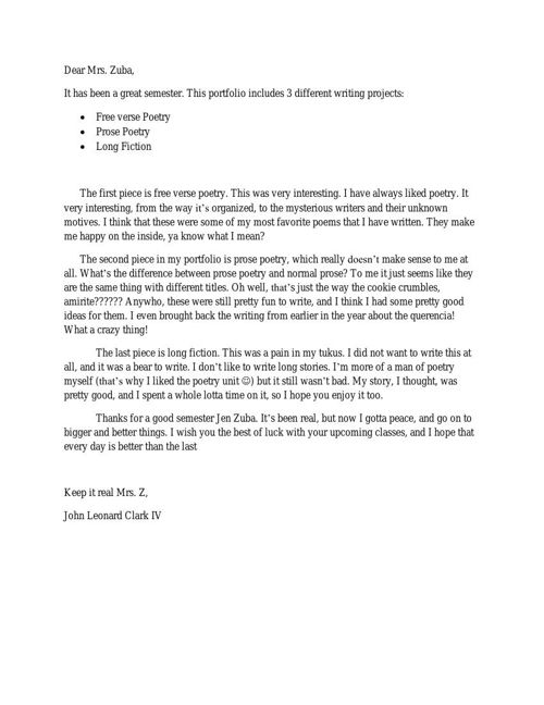 Reflection Letter