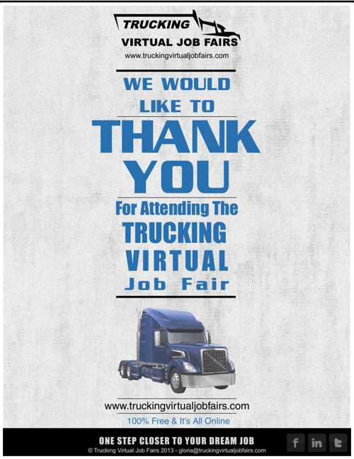 Trucking Virtual Job Fair Wednesday, Feb 27th