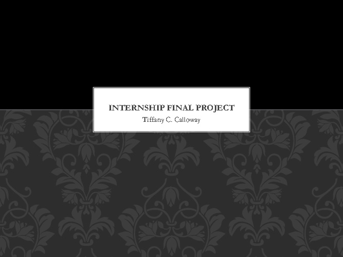 Internship Final Project