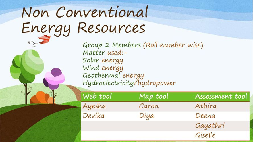 Group 2 - Non conventional energy resources