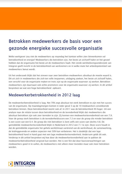 Werkbeleving in Nederland 2012 - betrokken medewerkers