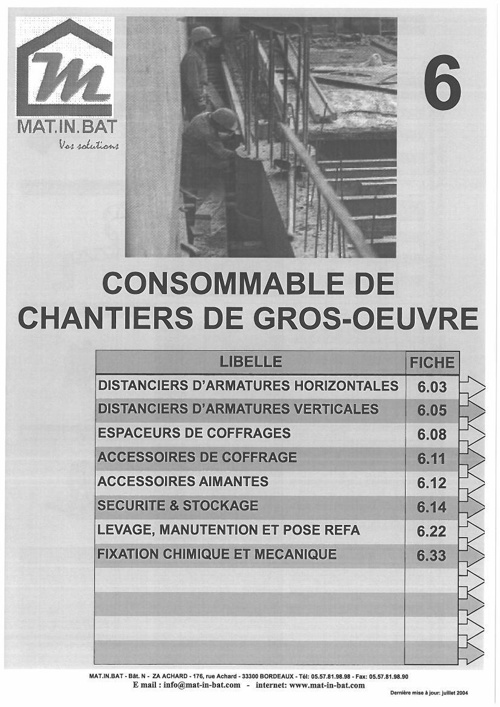 Catalogue Consommable Gros Oeuvre