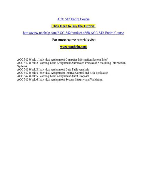 ACC 542 INSTANT EDUCATION / UOPHELP