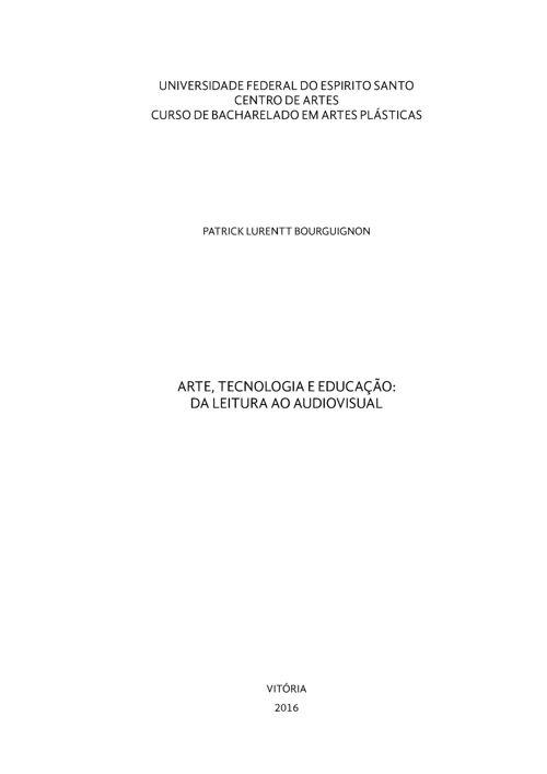 ARTE, TECNOLOGIA E EDUCAÇÃO