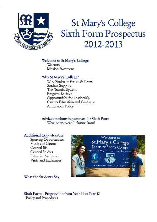 6th Form Prospectus - 2012/13