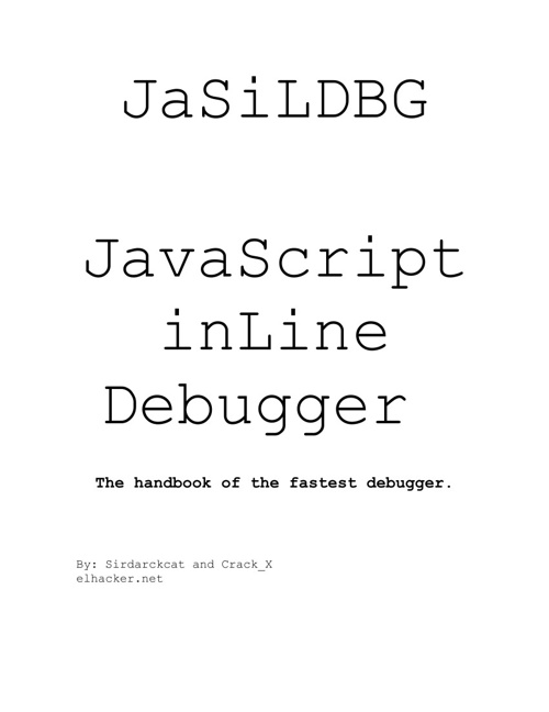 JaSiLDBG - JavaScript in Line Debugger