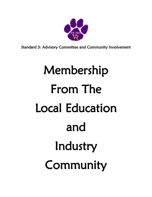 Standard 3: #36 Membership from the Local Education Sch and Comm