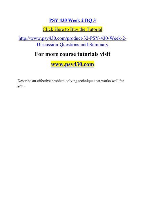 PSY 430 Week 2 DQ 3