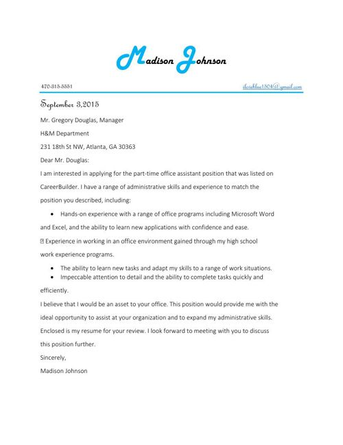 Madison Johnson cover letter