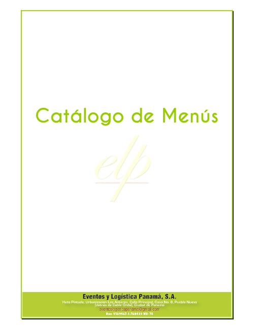 Catalogo de Menus