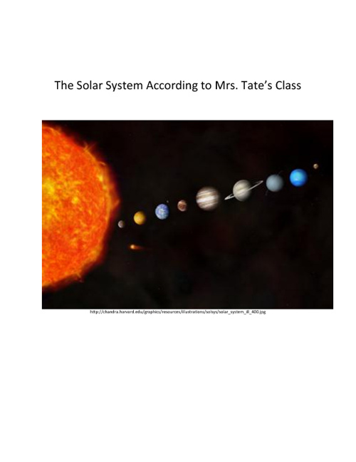 The Solar System According to Mrs. Tate's Class