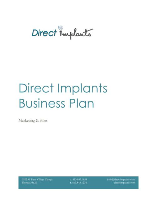 Direct Implants Business and Marketing Plan