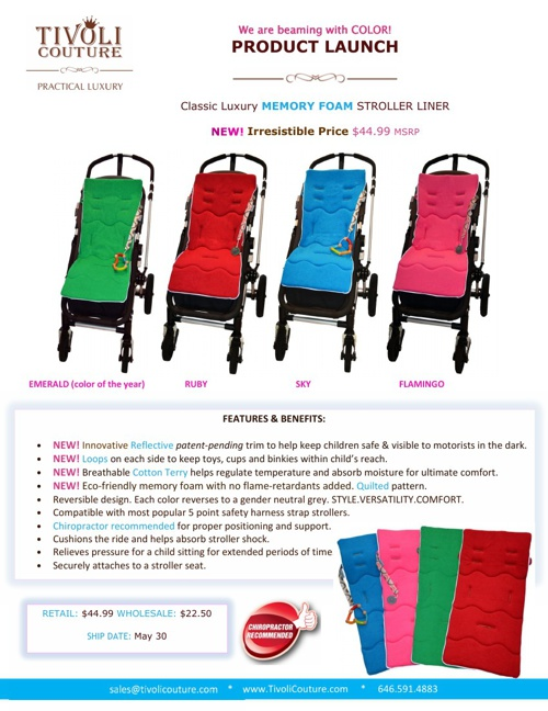 LUXURY Memory Foam Stroller Liners by Tivoli Couture