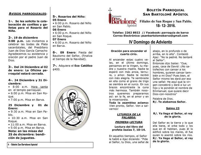 Boletín IV Domingo de Adviento