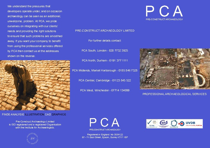 Pre-Construct Archaeology Leaflet
