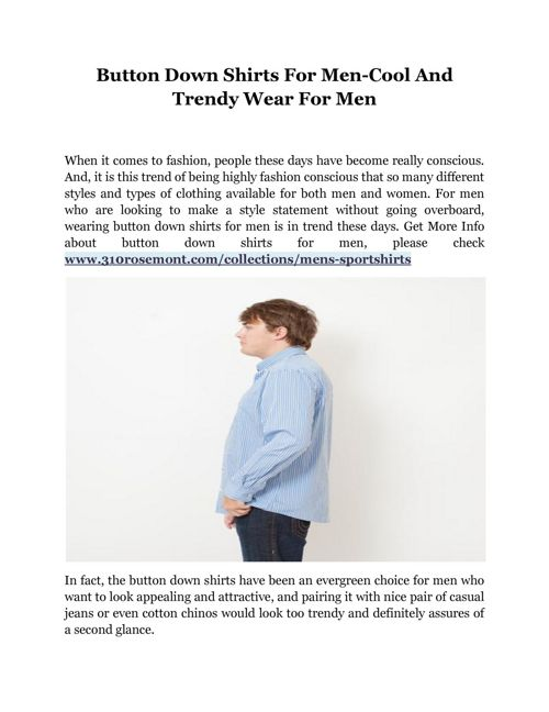 Button Down Shirts For Men-Cool And Trendy Wear For Men