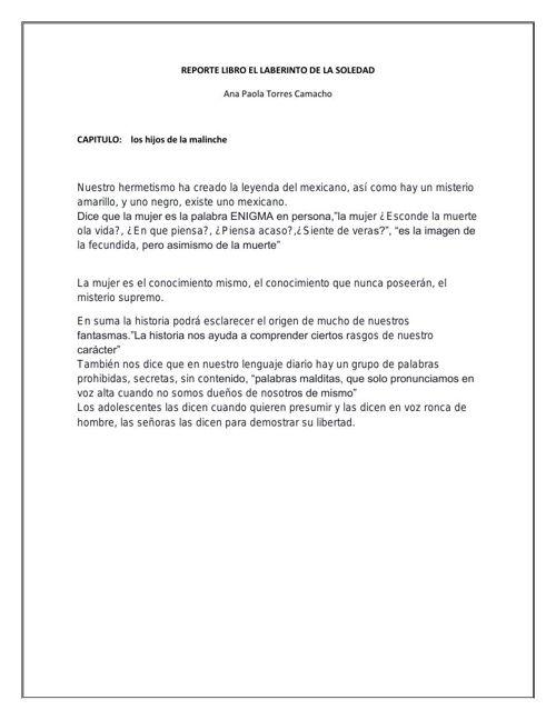 REPORTE LIBRO EL LABERINTO DE LA SOLEDAD 3