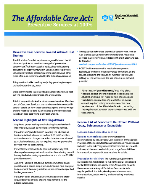 ABC- Preventive Health Services Fact Sheet