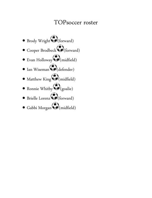 TOPsoccer roster