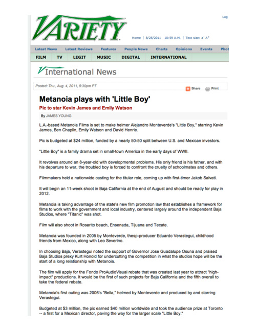 "Press Articles for ""LITTLE BOY"""
