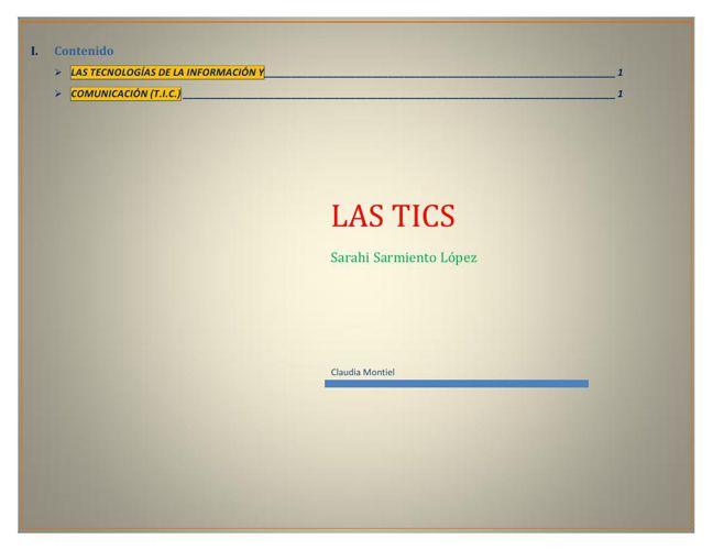 Las TICS SARAHI SARMIENTO LOPEZ