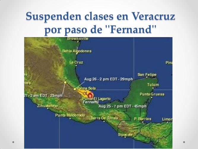 Suspenden clases en Veracruz por paso de ''Fernand''
