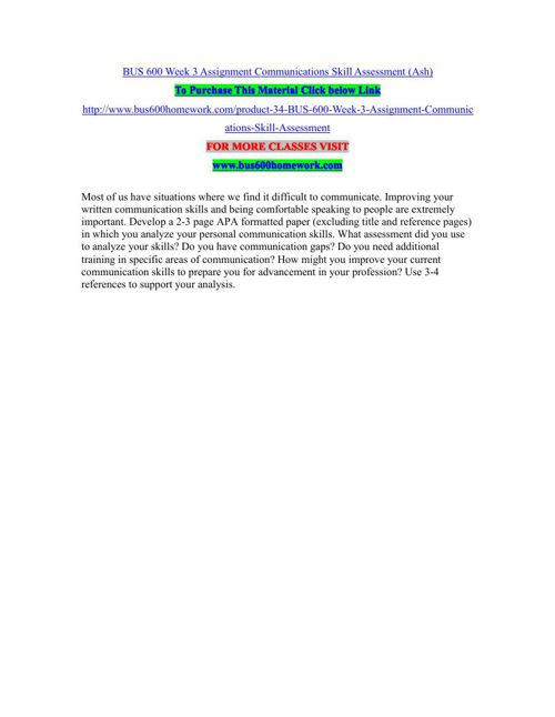 BUS 600 Week 3 Assignment Communications Skill Assessment (Ash)