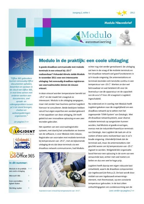 Modulo Nieuwsbrief - 2012 - editie 1