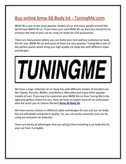 Buy online bmw X6 Body kit - TuningMe.com