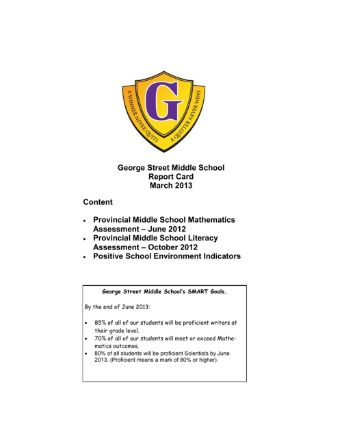 George Street Middle School Report Card 2013
