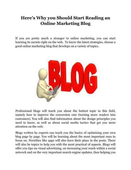 Here's Why you Should Start Reading an Online Marketing Blog