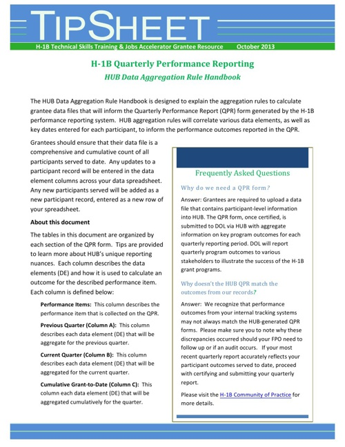 H-1B Grants Tip Sheets