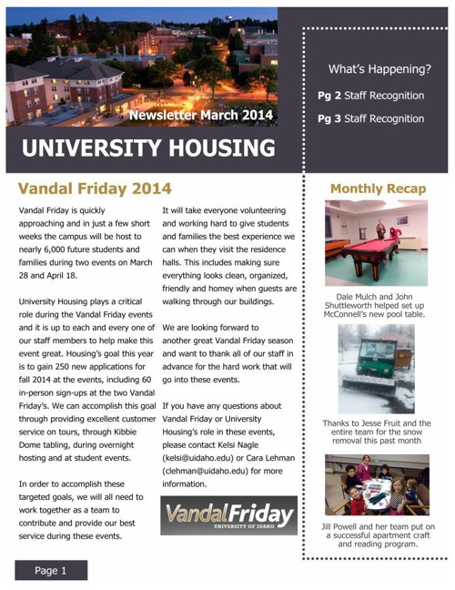 March Staff Newsletter