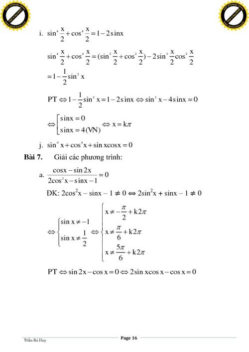 CĐ7. Phương trình lượng giác (phần 1 tt)