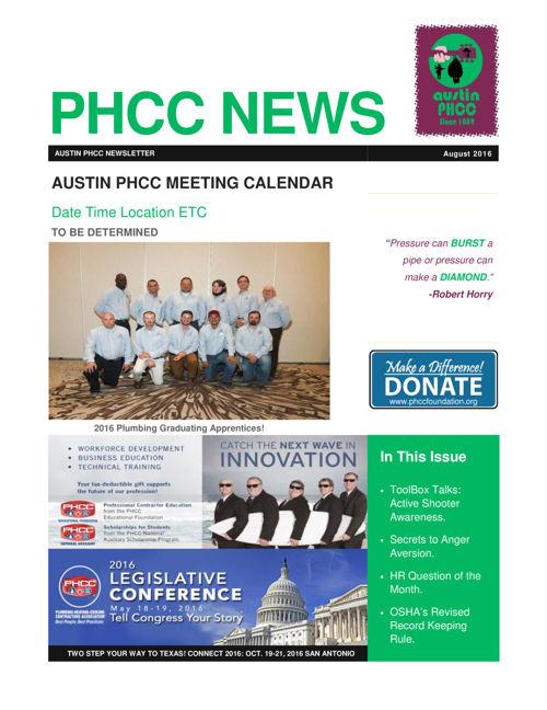 PHCC AUSTIN August 2016 Newsletter
