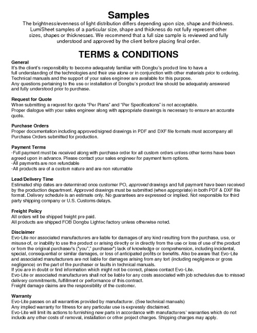 Evo-lite Terms and Conditions