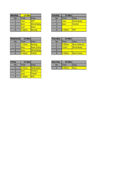 CONTOURS NOWRA CLASS TIMETABLE