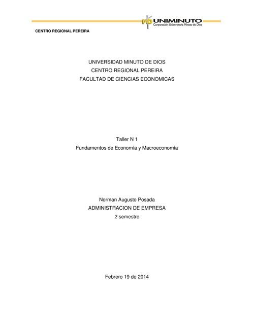 taller 1 Fundamentos de Economia y Macroeconomia