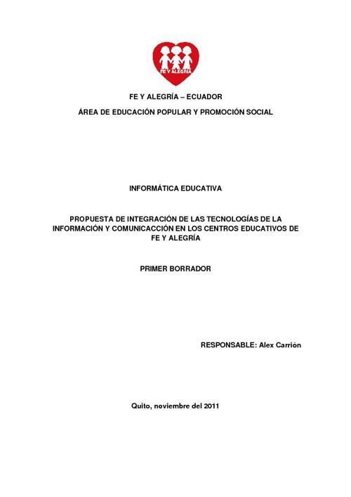 PROPUESTA NACIONAL DE INFORMÁTICA EDUCATIVA