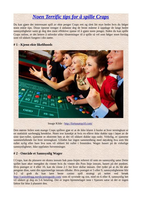 Noen Terrific tips for å spille Craps