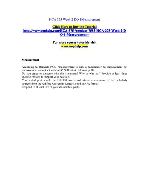 HCA 375(ASH) Academic Coach/uophelp