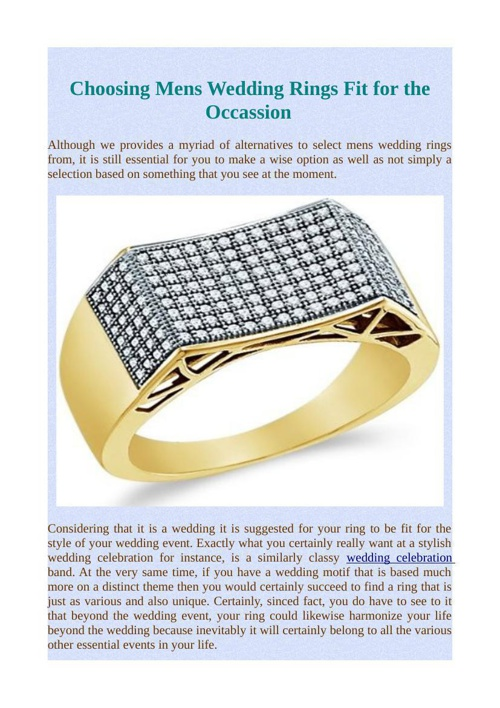 Choosing Mens Wedding Rings Fit for the Occassion