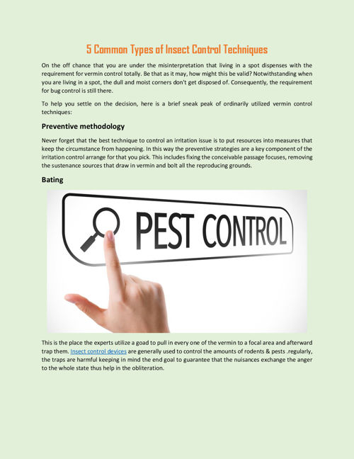 5 Common Types of Insect Control Techniques
