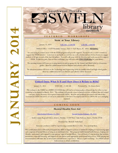 SWFLN January 2014 CE News