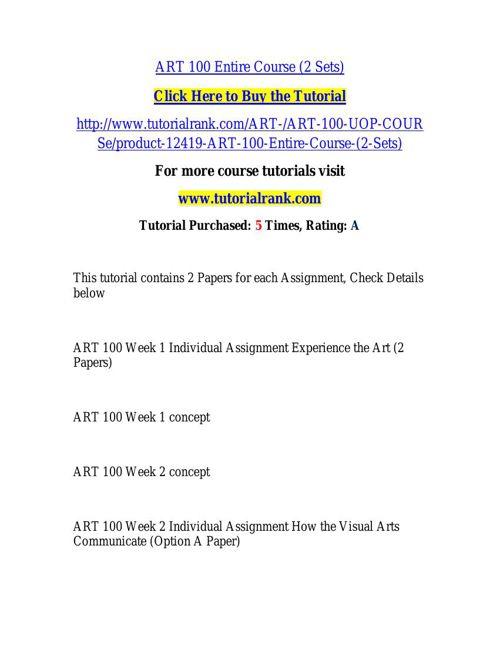 ART 100 Course Success Begins / tutorialrank.com