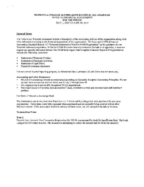 MCAAA Financial 2009 - 2011
