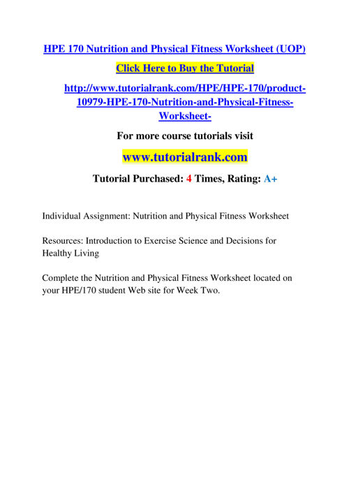 physical fitness and nutrition worksheet
